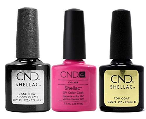 CNDShellac Hot Pop Pink plus Base Coat plus Top Coat, Esmalte de gel de uñas - 22 ml.