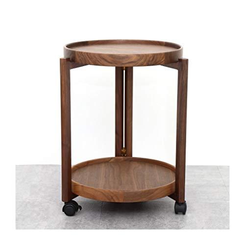 Escritorio de estudio Mesa de café pequeño móvil Nanyang Walnut Sala de estar Sofá Mesa auxiliar Simple Doxle Capa redonda Mesa de esquina pequeña para una fácil instalación Mesa para dormitorio