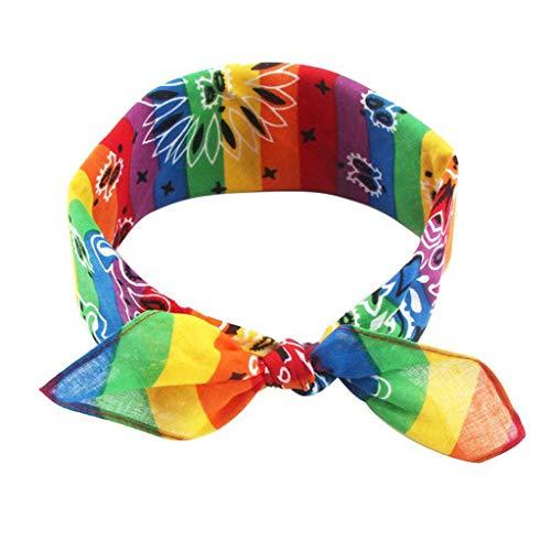 YOFO Schlussverkauf! Spielraum! Regenbogen Streifen Paisley Floral Frauen Mädchen Baumwolle Einstecktuch Schal Niedlichen Kaninchen Ohr Stirnband Bandana Hip-Hop Armband Hals Krawatte