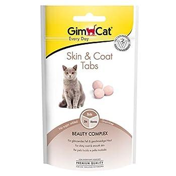 GimCat Skin & Coat Tabs - Snack fonctionnel pour Chats, pour une Peau et un Pelage Sains - Paquet de 8 (8 x 40 g)