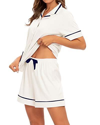 GOSO Pijama para Mujer,Pijama de Manga Corto con Botones para Mujer - Conjunto de Pijama de Manga Corto para Mujer