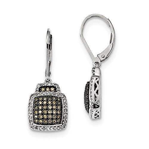925 Sterling Silver Champagne Diamond Large Square Leverback Earrings Lever Back Drop Dangle Fine Jewellery For Women Gifts For Her