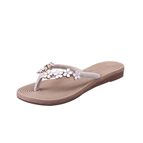 VJGOAL Damen Zehentrenner, Damen Mode Böhmische Sommer-Sandelholz-Pantoffel Innenim freien Flache Strand-Schuhe Flipflops (40 EU, Beige)