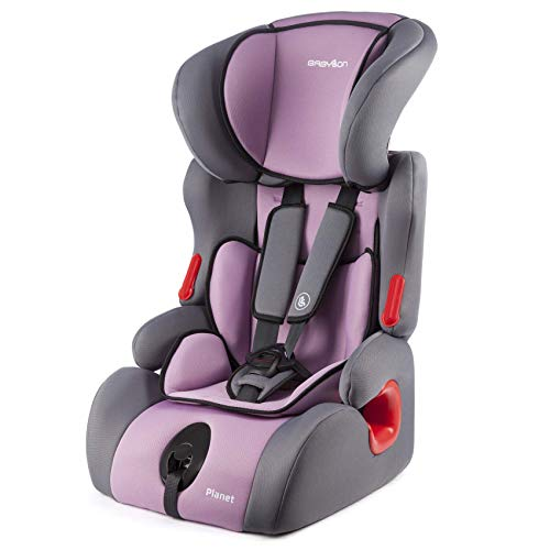 BABYLON silla coche Planet asiento de coche grupo 1/2/3,bebe coche para Niños 9-36 kg (1 a 12 años). silla coche bebe fabricada en Europa ECE R44 /0 gris/violeta claro