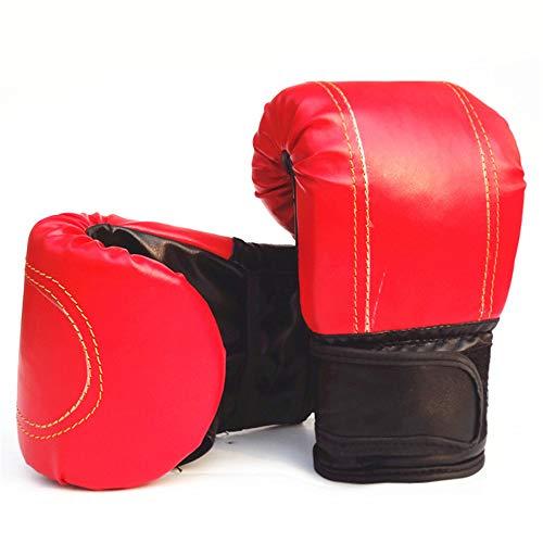 Blendx 1 Paar Boxhandschuhe PU Leder Coachinghandschuhe Punchinghandschuhe mit Klettgehäuse für Erwachsener 2 Farben|Rot