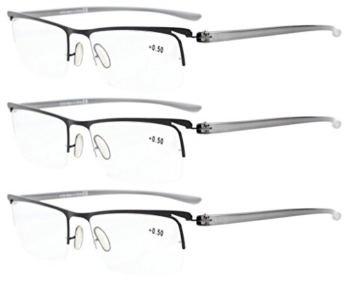 Eyekepper 3-Pack Plastic Temple Lightweight Half-Rim Reading Glasses Men Women Black +2.0
