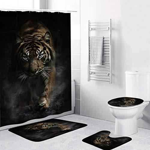 HOUZII Duschvorhang Für Badewannen Tiger 4-teiliges Duschvorhang Set Duschvorhang Textil Rollo Wasserdichter, Waschbar Duschvorhang Anti-schimmel 240X200CM