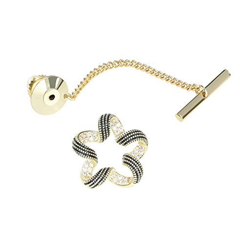 VVCome Mens Tie Tack Clutch with Chain Crystal Celtic Knot Bow Star Leaf Lapel Pins Brooch Wedding Business Accessories (Hollow Out Star Gold)