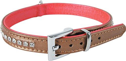 Zolux Strass Victoria Halskette Leder für Hunde Bronze 15–19cm