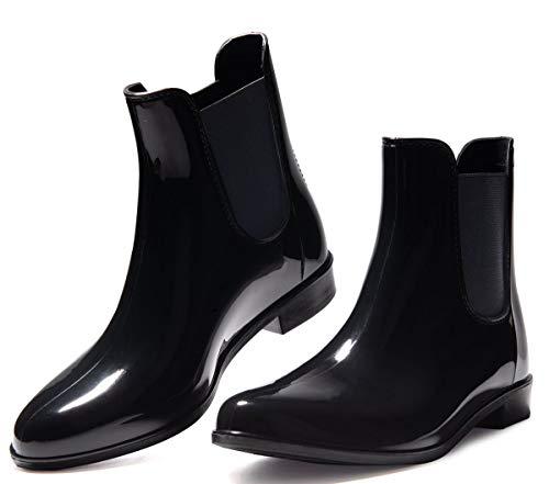 Toandon Women Short Rain Boots Ankle Mid Calf Rain Footwear Rubber Garden Shoes Solid Black Ultra Lightweight Fashion Waterproof Shoes Anti-Slip Slip on Elastic Chelsea Booties (Size 8,Black)