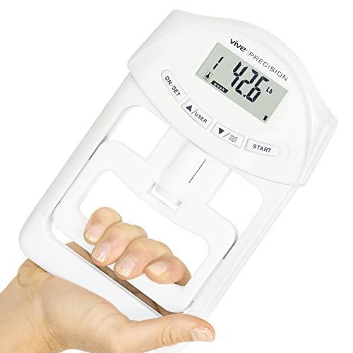 Vive Precision Grip Strength Tester - Dynamometer Trainer For Hand Measurement - Digital Gripper Meter For Forearm, Finger Measuring Or Training - Gripping Strengthener For Athletes, Home, Car, Clinic