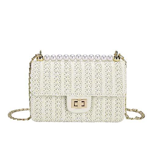 Sllowwa Damen Schultertasche Handtasche Vintage Stroh Tasche Casual Wild Vacation Einfache Weave Crossbody Tasche 010315