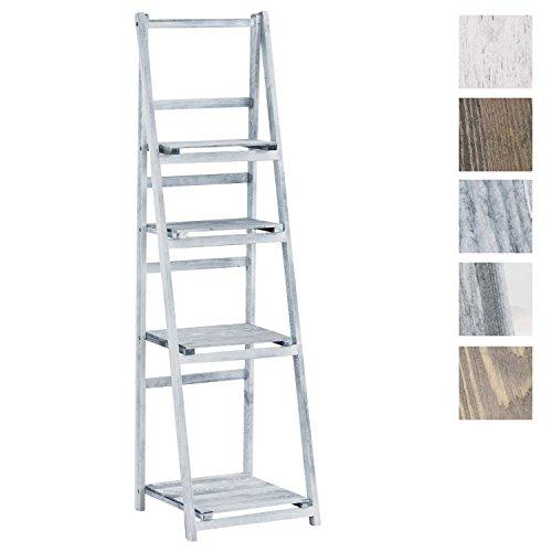 CLP Treppenregal Lillian aus Holz I Stufenregal mit Vier Ablageflächen I erhältlich Grau