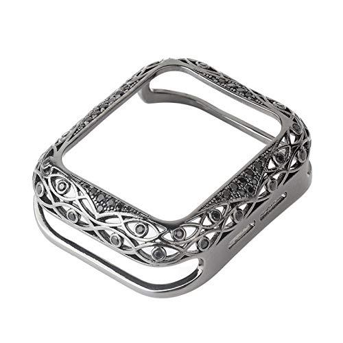 LLKHFA Cubierta Tallada de Metal para Mujeres de Lujo para la Serie de Casos de Reloj de 6 SE 5 4 3 Parachoques de Diamante para Watch 40mm 44mm 38mm 42mm Shell Bling