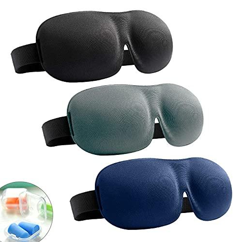 Sleeping Mask, 3D Contoured Eye Mask for Sleeping, Concave Eye Cover, Sleep Blindfold, Light Blocking Eye Shades for Men Women, Adjustable Eye Sleep Mask with Boxed Earplugs, 3 pcs (EM1)