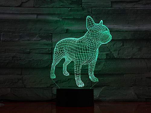 Onmyfly French Bulldog 3D Lamp Illusion Night Light LED Bulb Multicolor Flash Fade Lava Lampara Battery Touch Remote Senor Table Desk