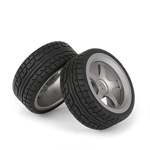 BQLZR Plastic RC 1:10 Drift Tires & Grey Aluminum Alloy 5 Spokes Wheels Pack of 4