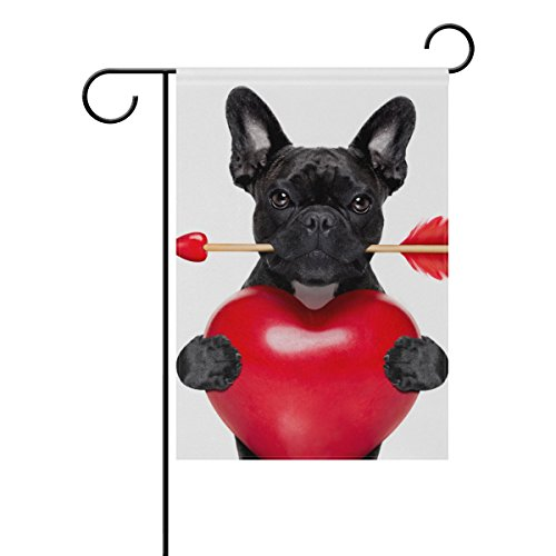 Vantaso Garden Flag Decorative Happy Valentine's Day French Bulldog Love Holding Red Rose Polyester Double Sided Printing Fade Proof for Outdoor Courtyards Garden 12x18 inch