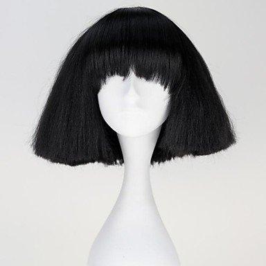 GSP-Lady Gaga sin tapa de la manera recta corta peluca sintética Negro: Amazon.es: Deportes y aire libre