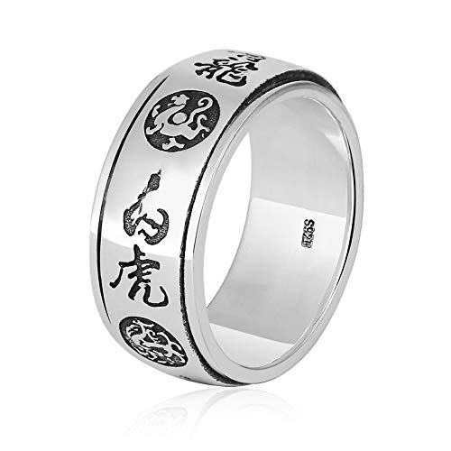 Aienid Freundschaftsringe 925 Silber Drehring 4 Mythische Tiere Ring Azurblauer Drache Ring für Männer Size:68 (21.6)