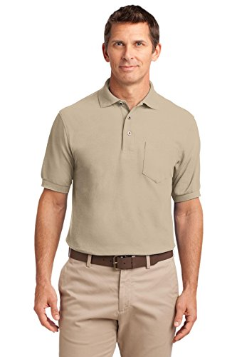 Port Authority Men's Silk Touch Polo T-Shirt with Pocket (X-Large Tall, Stone)