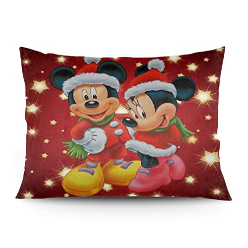 Omigge Cute Cartoons Square Throw Pillow Case, Soft Velvet Cushion Cover with Hidden Zippe for Couch Sofa Home Bed Decoration, Disney Mickey Mouse and Minnie Christmas Glitter Star