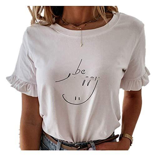 Casual volantes manga corta camisetas mujeres sólido suelta camiseta primavera verano todo partido señoras - - XX-Large