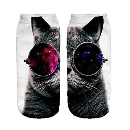 Ferocity Lustige Socken Sneaker Halbsocken Strümpfe Sportsocken Füßlinge mit Motiv 3D, Galaxy Sunglasses Cat Big, 36 - 40