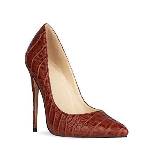 DEAR-JY Zapatos de Tacón para Mujer,12CM Retro de Piel de cocodrilo Tridimensional Sexy Punta Puntiaguda Asakuchi Stiletto Heel,Boda Fiesta Club Vestido de Noche Tallas Grandes Bombas,Wine Red,37 EU