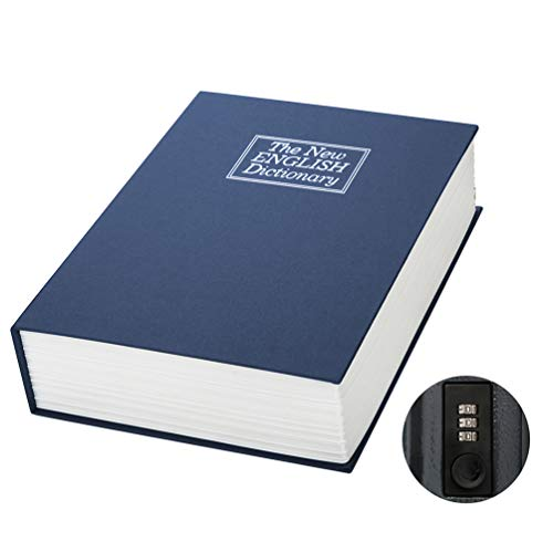 Large Book Safe with Combination Lock – Jssmst Home Dictionary Diversion Safe Lock Box, 10.5 x 7.8 x 2.5 Inch, Navy XLarge, SM-BS1402XL