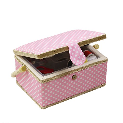 D & D caja de costura cesta organizador con accesorios, hogar caja...