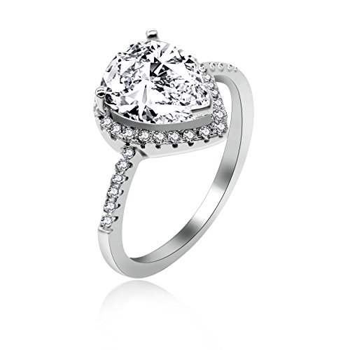 Uloveido 925 Anillo de Plata de Ley con Forma de Pera Diamante simulado CZ Halo Promesa Anillo de Compromiso para Ella (Blanco, Tamaño 17) JZ116