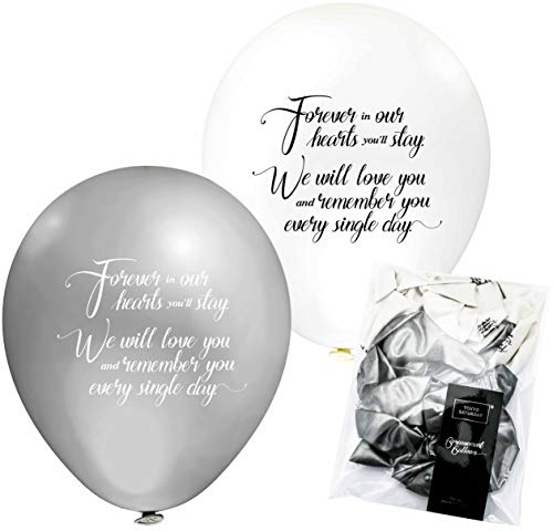 TOKYO SATURDAY Bereavement Funeral Celebration Balloons Decorations kit - 32 Pack Biodegradable Latex Materials Memorial Balloons - For Funeral, Death Anniversary And More (32pk White & Silver)