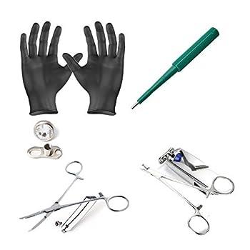 Dermal piercing Kit-2 Forceps 10 Clear Dermal Tops Sets 10 Punches 2 Gloves