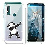 HHUAN Funda para Oukitel C17 Pro Semi-Transparente Cover Suave Silicone Panda Fresco Caso TPU Case Carcasa + Cristal Templado Protector de Pantalla para Oukitel C17 Pro (6.35')
