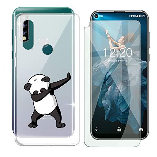 HHUAN Funda para Oukitel C17 Pro Semi-Transparente Cover Suave Silicone Panda Fresco Caso TPU Case Carcasa + Cristal Templado Protector de Pantalla para Oukitel C17 Pro (6.35