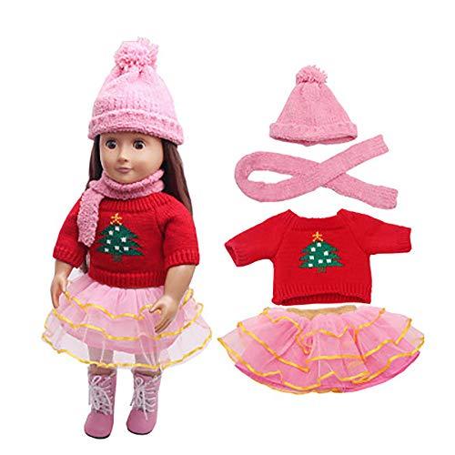 Set de Navidad 4 Piezas Suéter Estampado Invierno árbol de Navidad+Mini Falda Princesa Tutu+Bufanda+Sombrero de Invierno para 18 Pulgadas Muñeca Americana Chica Gusspower