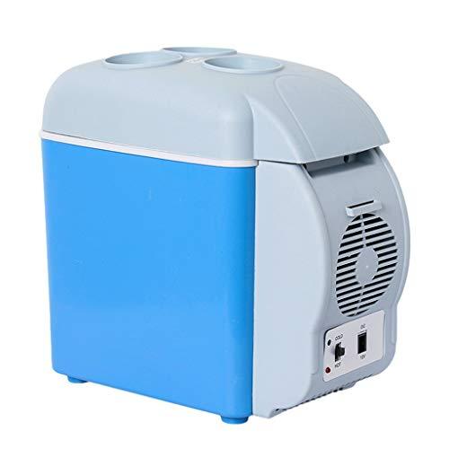 ZYLCZBX11 Mini-koelkast, 7,5 liter, voor in de auto, draagbare hete en koude dubbele use mini-koelkast, verwarming en koeling, met bekerhouder DC 12 V