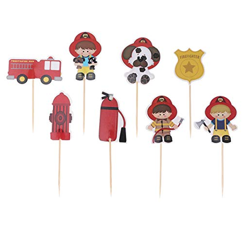 Amosfun 24 piezas de decoración para cupcakes de bomberos, bomberos, camión de bomberos, extintor, para fiestas de cumpleaños infantiles