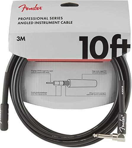 Fender 099-0820-025 Cable de instrumento serie profesional, ángulo recto, 10 ', negro