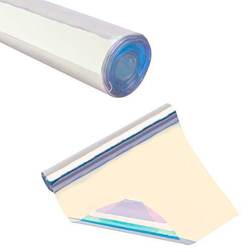 PandaHall Elite Irisierende Farbe Transparent Spiegel Symphonie Laser Stoff PVC Holographische Handwerk Vinyl Film Gespiegelte Folie Grafik Stoff für Tasche Schuhe Nähen Patchwork DIY Bogen
