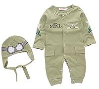 (ホーマイ)HOOMAI ハロウィン コスプレ ベビー ロンパース パイロット 長袖 フード 刺繍 ゴーグルハット ベビー服 80-95 クリスマス 衣装 カバーオール 90