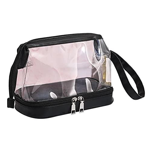 Srliya Bolsa cosmética transparente para las mujeres portátil bolsa de maquillaje transparente impermeable viaje cremallera seco separación...