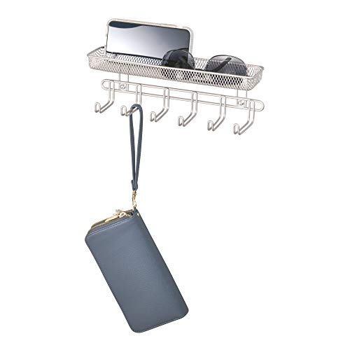 iDesign Classico Wall Mount Entryway Organizer for Keys, Hats, Wallets, Clutch Purses, Cell Phones, Sunglasses - 11', Satin