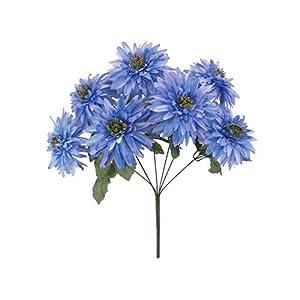20″ Bouquet Blue Lavender Tip Mum Bush Artificial Silk Flowers LivePlant