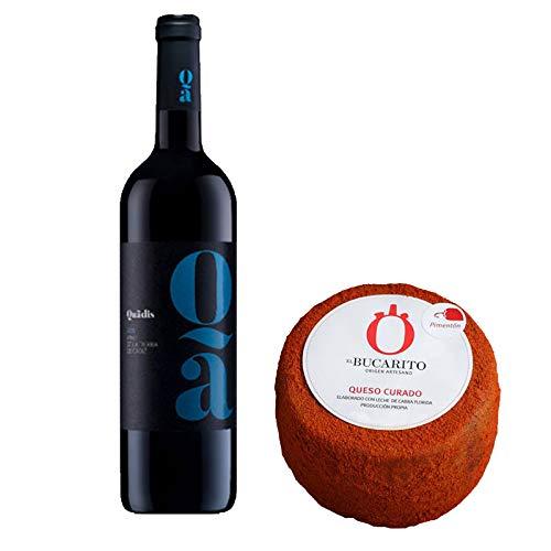 Pack de Vino tinto Quadis Joven y Queso Curado en Pimenton Pasteurizado - Vino de 75 cl y Queso de 850 g aprox - Mezclanza