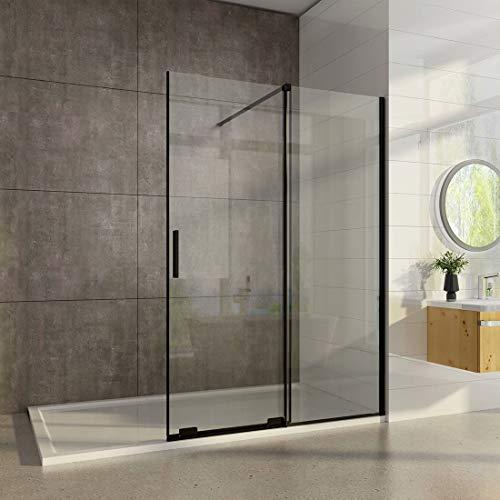 Heilmetz Walk in Duschwand Duschabtrennung mit Schiebetür - Funktion 120 x 195 cm Duschwand 8 mm Easy-clean Nano Glas Duschtrennwand Schwarz