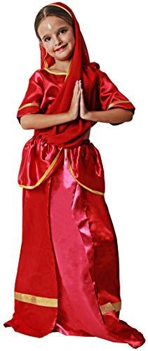Gojoy shop- Disfraz de Hindu para Niño y Niñas Carnaval (Contiene Gorro y Camiseta y Pantalón y fajín,y Espada o Top y Falda Con Pañuelo , 4 Tallas Diferentes) (Niña, 7-9 años)