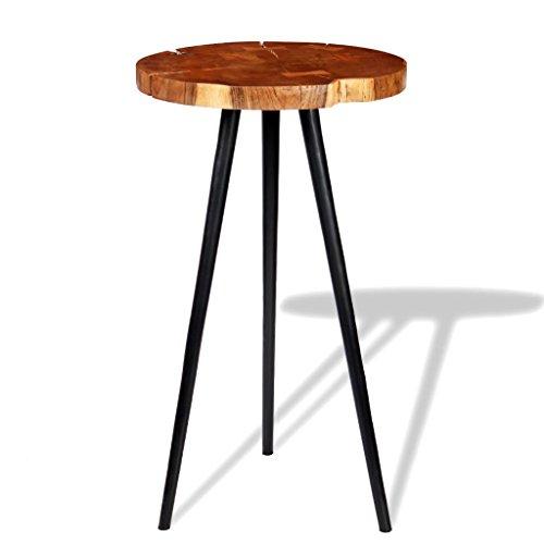 SENLUOWX Table de Bar de Tronc en Bois Massif d'acacia (55 – 60 x110 cm