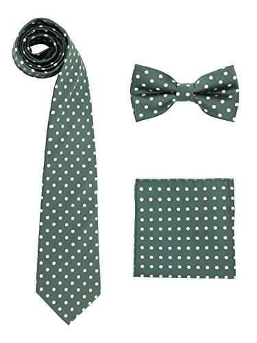 WANYING WANYING Herren 8cm Breite Krawatte & Pre-tied Fliege & Einstecktuch 3 in 1 Sets - Gepunktet Dunkelgrün